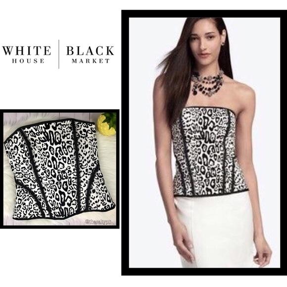 White House Black Market Tops - WHBM Cheetah Print Bustier, Sz 4